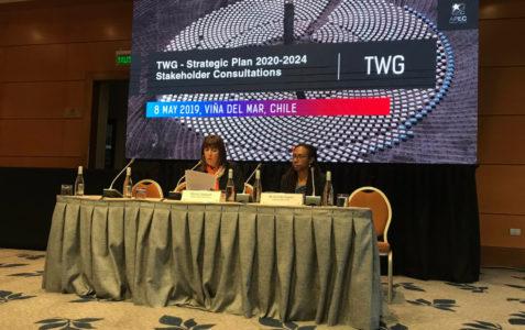 Imagen que muestra a la subsecretaria de turismo Monica Zalaquett en una conferencia en el marco de APEC 2019