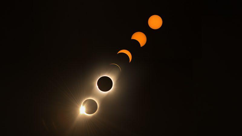 Imagen de las fases de un eclipse solar
