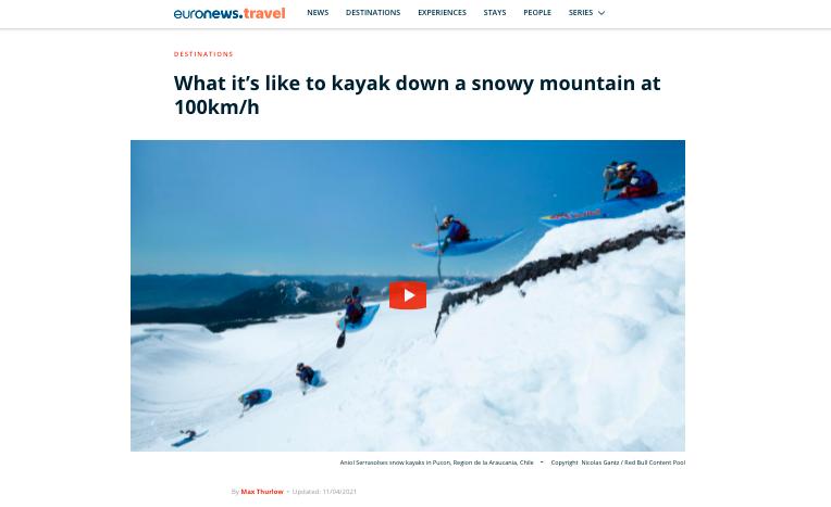 descenso kayak sobre nieve volcán villarica